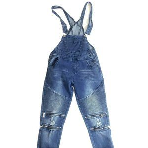 American Bazi Womens Moto Overalls Jeans Blue